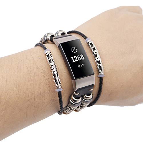 Altsommer Armband für Fitbit Charge 3, Ersatzarmband Vintag Leder mit Klassische Edelstahlschnalle Uhrenarmbänder,Replacement Lederarmband Schnellverschluss für Herren Damen (Schwarz)