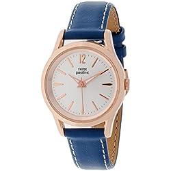 THINKPOSITIVE, Mens watch, Model SE W 130 R Big Milano Rosè, Imitation leather strap, Unisex, Color blue