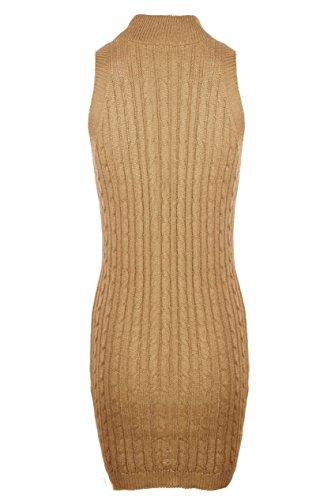 Babyonlinedress Damen Bleistiftrock ärmellos Midirock Sweatershirts Pullover Wickelkleider Wolle Cocktailkleid in 5 Farben Aprikose