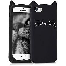 kwmobile FUNDA DE SILICONA Diseño gato para Apple iPhone SE / 5 / 5S - Un diseño elegante y una protección óptima