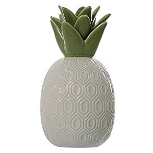 SuskaRegalos-Figura Piña Cerámica Blanca/verde_13x13x25cm