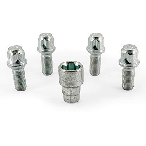 H&R 1452703KEY4 Set R13 M14x1.50x27mm Kugelbund-4 Felgenschloss-Schrauben inkl. Adapter