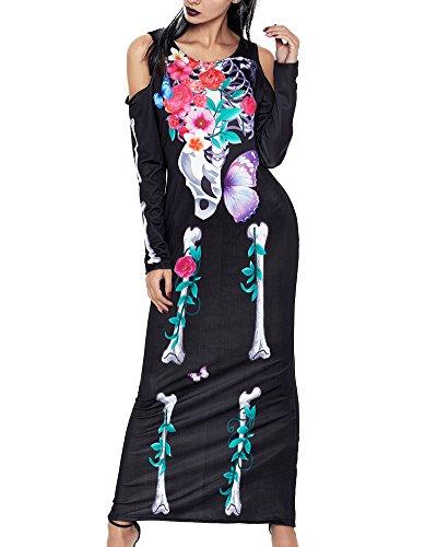 Romacci Damen Halloween Skeleton Print Kleid Knochen Blumen Schulter Lange Ärmel Maxi Lange ()