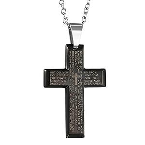 Oidea Edelstahl Bibel Gebet schwarz Kreuz Anhänger mit Silber 55cm Kette Halskette für Herren Männer