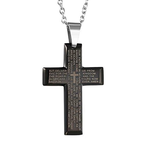 OIDEA Edelstahl Bibel Gebet schwarz Kreuz Anhänger mit Silber 55cm Kette Halskette für Herren Männer (Kreuz Bibel Anhänger)