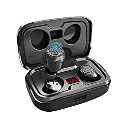 Antimi Bluetooth Kopfhörer Kabellos in Ear Kopfhoerer Sport Wireless Bluetooth 5.0 Headset mit 140 Stunden Spielzeit/Digitalanzeige/IPX7 Wasserdicht für iPhone Huawei Samsung (Schwarz)