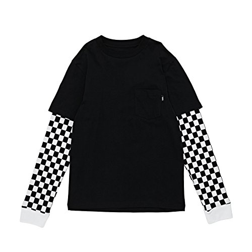 Vans Langarm T-Shirt - Checker Sleeve Two Fer Schwarz/weiß Größe: 128-140 cm groß - 8 bis 10 Jahren - 10 Langarm T-shirt
