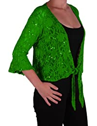 EyeCatch Oversize 12-26 - Darcey Ladies Sequin Cardi Tie Shrug Lace Bolero Top Womens Plus Size