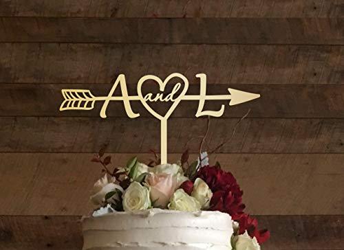 Andrea1Oliver Rustikale Hochzeitstorte Topper Pfeil Cake Topper f¨¹r Hochzeit Brautdusche Cake Topper Rustikale Country Chic Hochzeitstorte Topper Holz Brief 036 (Brief E-hochzeitstorte Topper)