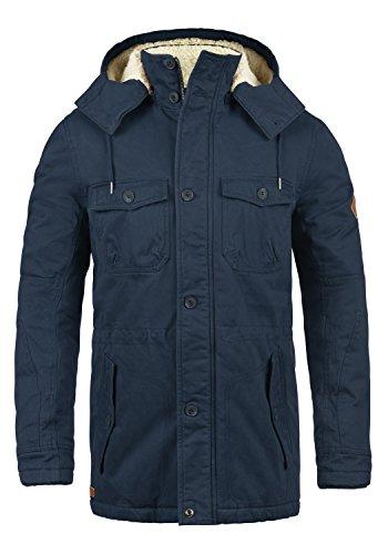 BLEND Kenneth Herren Parka lange Winterjacke mit Stehkragen und abnehmbare Kapuze mit Teddy-Futter aus hochwertiger Baumwollmischung, Größe:M, Farbe:Navy (70230)