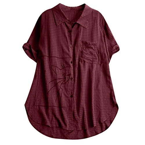 Zegeey Damen T-Shirt Baumwoll Leinen Tunika Drucken Rundhals Kurzarm Jacquard Oberseiten Blusen Tops Shirts T-Shirt Mode LäSsige Lose(W11-rot,EU-44/CN-2XL