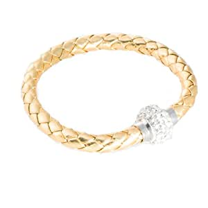 black-yard Damen Leder Armband mit Kristall Kugel gold, Magnetverschluss