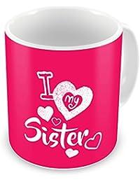 Indigifts Rakshabandhan Gifts for Sister | Sis Love Printed Coffee Mug 330 ml & Fridge Photo Magnet | Rakhi Gift for Sister, Sister Birthday Gift, Sister Rakshabandhan Gift, Sister Coffee Cup