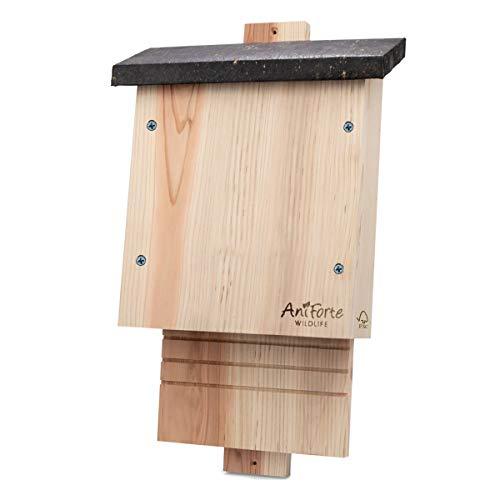 AniForte Fledermauskasten nach NABU aus FSC Holz wetterfest Fledermaushaus - Fledermaus Nistkasten, Haus für Fledermäuse, Fledermausnistkasten -