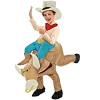 CHILDRENS KIDS INFLATABLE BULL RIDER FANCY DRESS COWBOY COSTUME RODEO OUTFIT