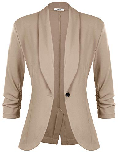 iClosam Damen Blazer Sommer 3/4 Ärmel Elegant Cardigan top. (Khaki, M)