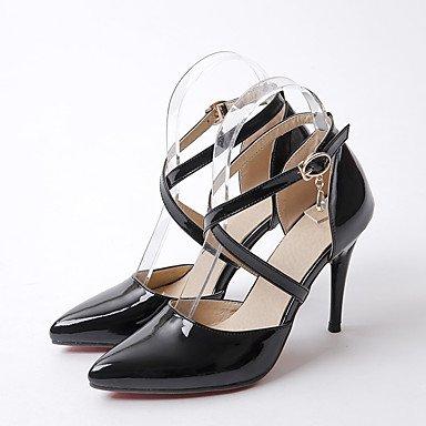 Sandales Printemps Été Automne Chaussures Club Bureau PU & partie de carrière & tenue de soirée strass talon aiguille Black