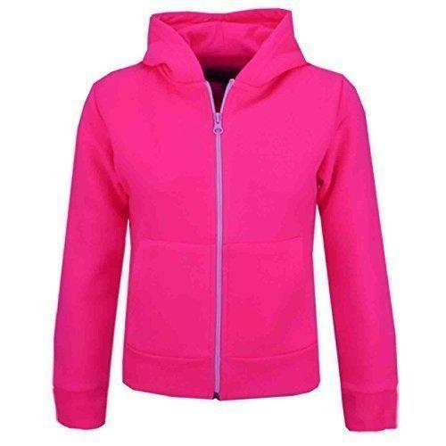 ngen Unisex Einfarbig Fleece Kapuzenpullover Reißverschluss Style Reißverschluss 5 6 7 8 Jahre 9 10 11 121 3 Jahre - Neonpink, 7-8 Years ()