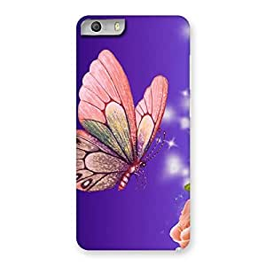 Pinkish Butterfly Back Case Cover for Micromax Canvas Knight 2