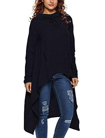 LAEMILIA Womens Autumn High Low Tunic Sweatshirts Dress String Hoodie With Pocket Irregular Hem Jumper Pullover Loose Long