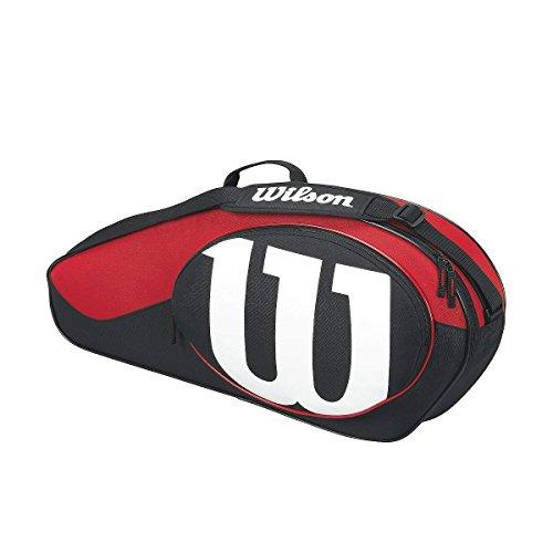 Wilson Damen/Herren-Tennistasche, Für Spieler aller Spielstärken, Match II 3PK, Einheitsgröße, schwarz/rot, WRZ820603