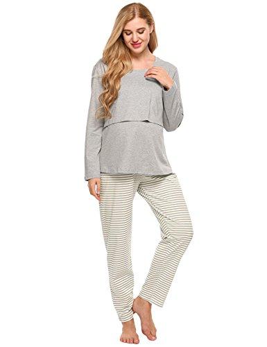 ADOME Damen Umstandspyjama Lang Stillfunktion Stillschlafanzug Stillpyjama für Schwangere Baumwolle