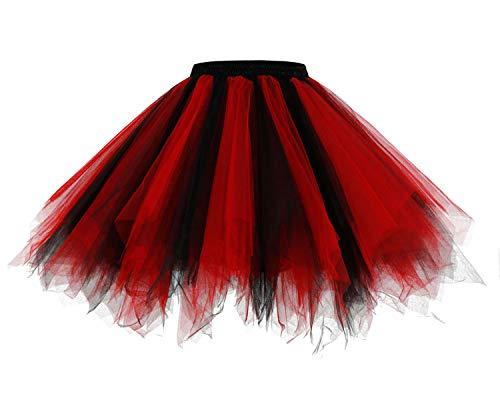 Homrain 1950 Petticoat Tutu Unterrock Underskirt für Rockabilly Kleid Black-Red S