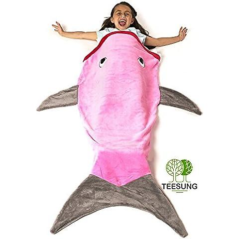 teesung cálido y suave manta de tiburón cola de sirena manta para niños pies Go en aletas,