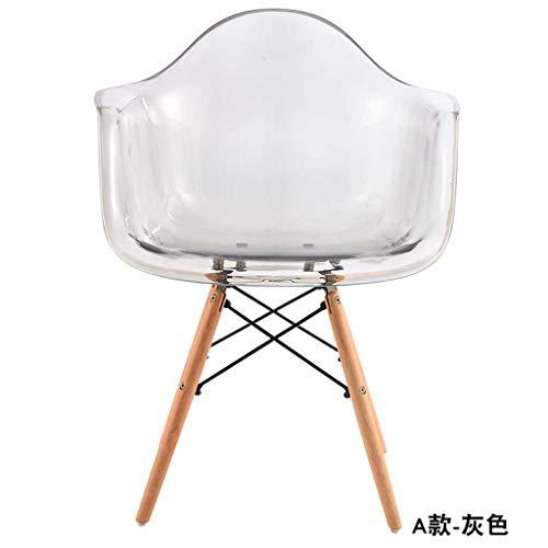 Rollsnownow Transparenter Stuhl-moderner unbedeutender Rückenlehnen-Armlehnen-Schreibtisch-Stuhl-Mode-Kristallplastik-beiläufiger speisender Stuhl (Color : E) - Moderner Kunststoff-stuhl