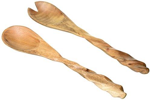 Enrico 3160AS Salatbesteck, Akazienholz, spiralförmig, Natur -