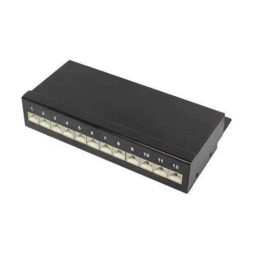 Good Connections Desktop Patch Panel Cat. 6 (12-Port) - geschirmt, STP, Geeignet für 1 Gigabit/s Ethernet / bis 250 MHz - LSA Leisten farbcodiert nach EIA/TIA 568A+B - tiefschwarz RAL9005 Cat 5 Patch Panel