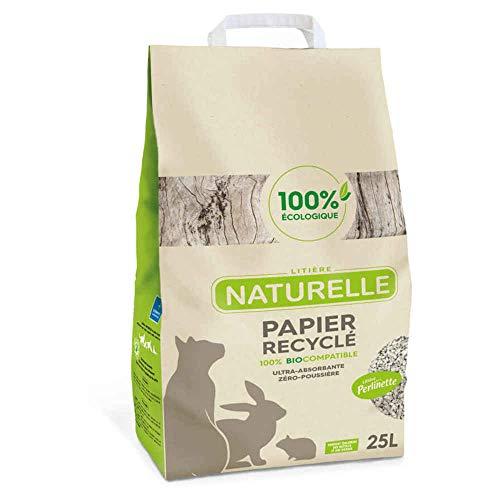Perlinette - Litière Naturelle Papier Recyclé 100% Éco pour Chat - 25L