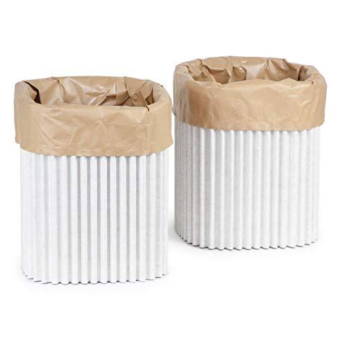 Cartù wave bidoni per raccolta differenziata: 2 contenitori ecologici realizzati con cartù, ciascuno con uno sacco riutilizzabile/riciclabile. piccolo: dim. esterne: 30 x 30 x h 34cm. sacco: 20 lt