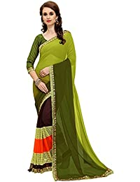 Navya Fashion Dark Green Saree With Unstich Blouse Saree