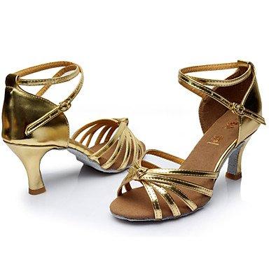 Silence @ Chaussures de danse pour femme Latin satiné/similicuir Talon Noir/marron/rouge/argent/or/Leopard/autre bordeaux