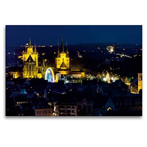 Premium Textil-Leinwand 120 x 80 cm Quer-Format Erfurt - Mariendom und Severikirche | Wandbild, HD-Bild auf Keilrahmen, Fertigbild auf hochwertigem Vlies, Leinwanddruck von Thomas Seethaler Fotografie