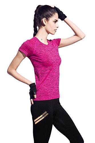 HonourSport-T-shirt Femme Sportif et Yoga Manches Courtes Rouge