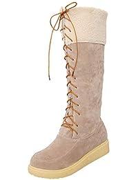Beikoard Frauen Schneeschuhe Mittlere Stiefel Behalte warme Stiefel Flache Schuhe mit runder Zehenspitze