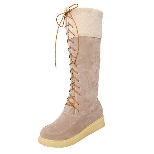 cinnamou Damen Middle Tube Snow Boots,Wildleder Runde Toe Lace-Up Flache Schuhe warm halten Schnürstiefe