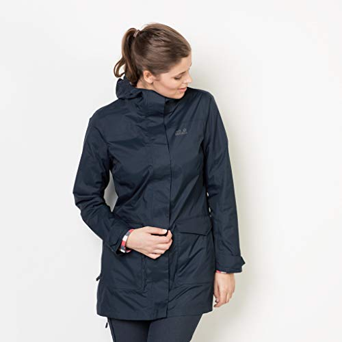 Jack Wolfskin Women's Crosstown Raincoat, Midnight Blue, Medium