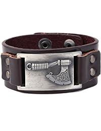 My Shape Vintage Charm Viking Thunder Shield of Perun Leather Bracelet Slavic Axes Pendant Amulet Jewelry