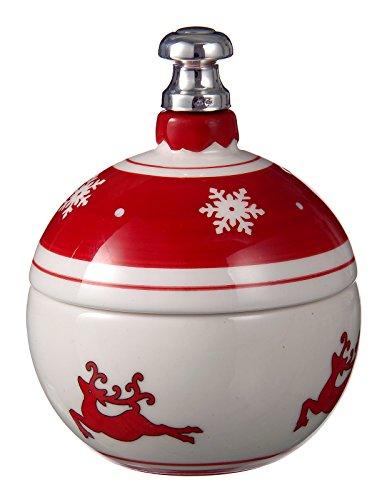 Raddi argenterie - Sucrier en porcelaine rouge et blanche avec Final - Argent 925 ° ° ° diam cm 9 x 12H