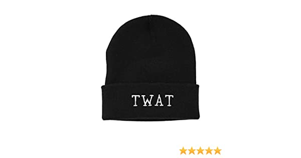 Twat Black Embroidered Beanie Hat Funny Slogan Knitted Beanie