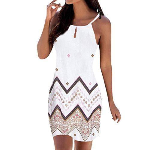LILIGOD Mode Ärmelloses Frauenkleid,Damen Boho Mini Kleid Neckholder Print Lässig Sommerkleid Beachwear Elegant Sexy Enges Kleid Retro Schlankes Kurzes Kleid O-Ausschnitt Kleid -