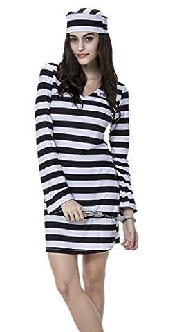 Femme Costumes De Prisonniers - Smile YKK Femme Déguisement Prisonnier Uniforme Costume