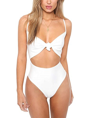 CoCo Fashion Damen Badeanzug Einteiler Bademode Neckholder Monokini Rückenfrei Bikini (EU M, Weiß) (Weißer Monokini Bademode)