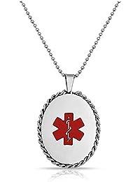 Bling Jewelry Cadena de Acero Inoxidable Placa de identificación médica Oval colgante de collar 20