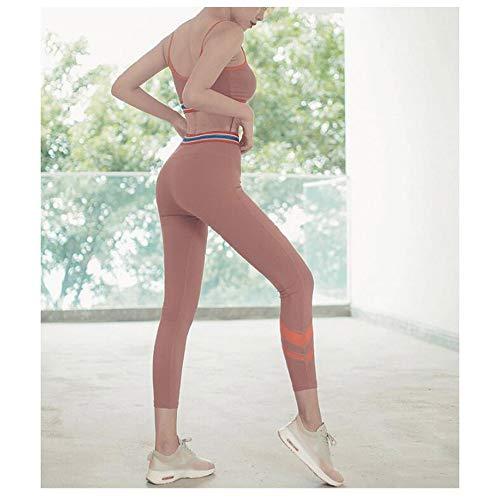 Chenyuying Frauen Yoga Wear Sets hohe Taillen-festes Yoga Pants Schnell trocknend atmungsaktiv Sport-BH Zweiteilige Yoga Set. (Color : Brick red, Größe : S) - 3