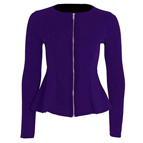 Janisramone femmes Collerette de peplum zip ordinaire adaptée blazer veste manteau 8-24 purple