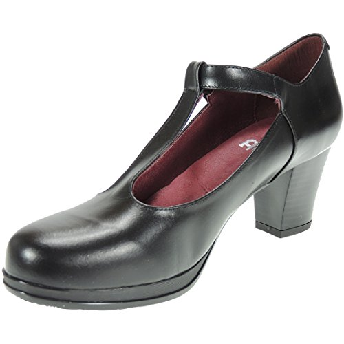 CHAMBY 10527 Zapato Plataforma Tacón Ancho 6 CM Hebilla